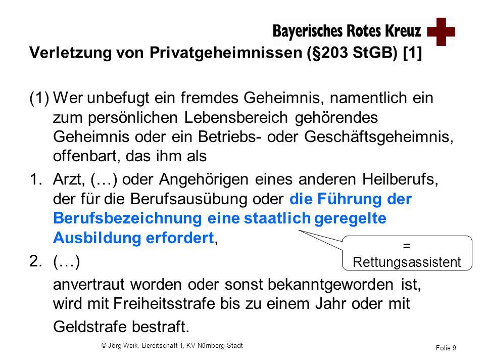 Verletzung von Privatgeheimnissen (§203 StGB) [1]